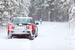 Car Driving in Calgary Winter Storm