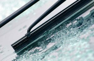 windshield with ice one it